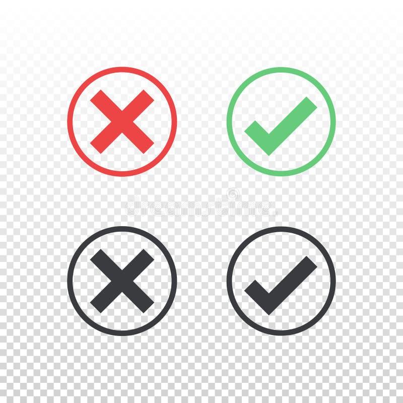 Sistema del icono negro verde rojo de la marca de verificación del icono del círculo en fondo transparente Apruebe y cancele el s libre illustration