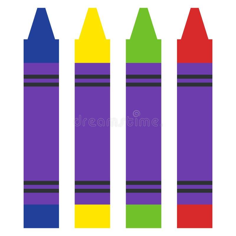 Sistema del icono púrpura amarillo verde rojo de los rotuladores libre illustration