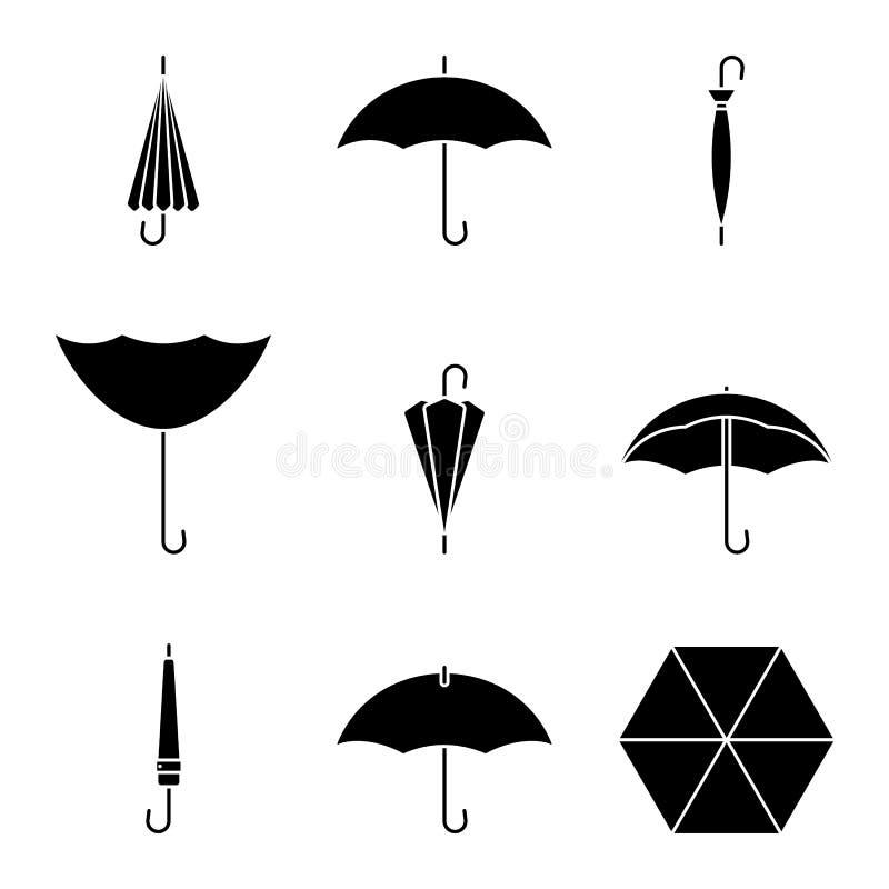 Sistema del icono del paraguas Silueta negra del accesorio resistente de la lluvia en blanco libre illustration