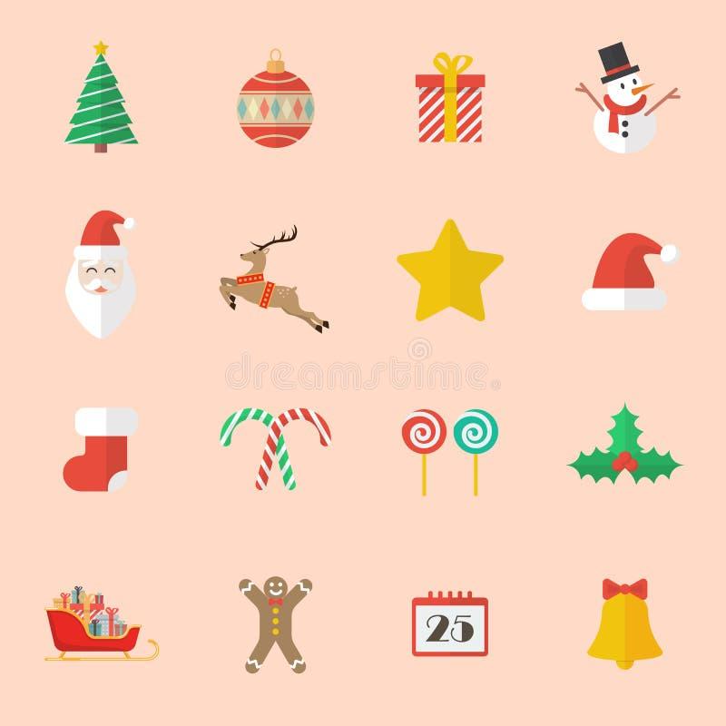Sistema del icono plano de la Navidad libre illustration