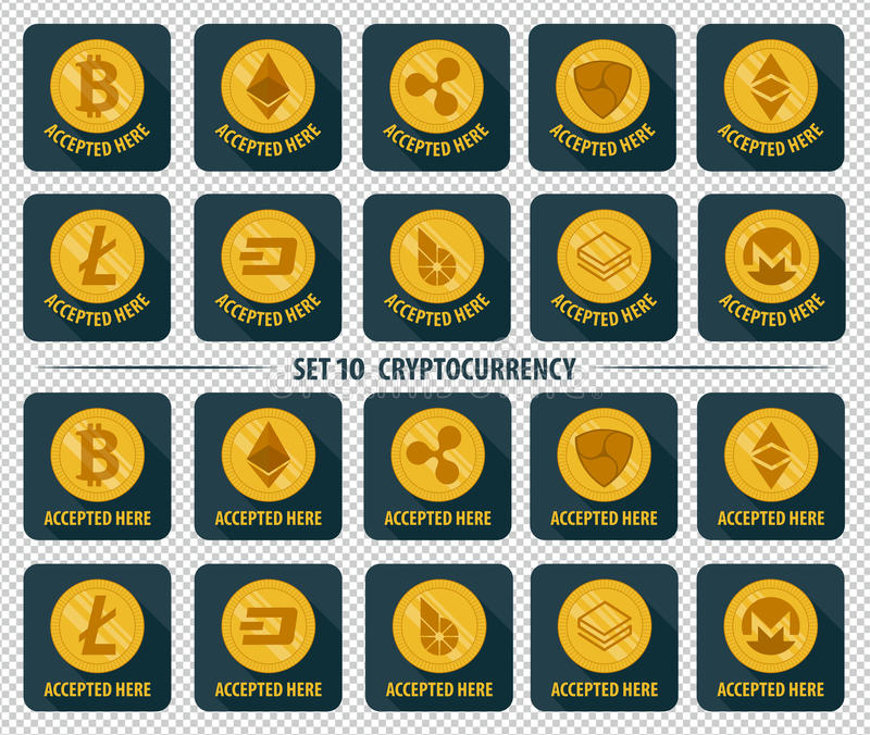 Sistema del icono plano del cryptocurrency de la moneda 10 ilustración del vector