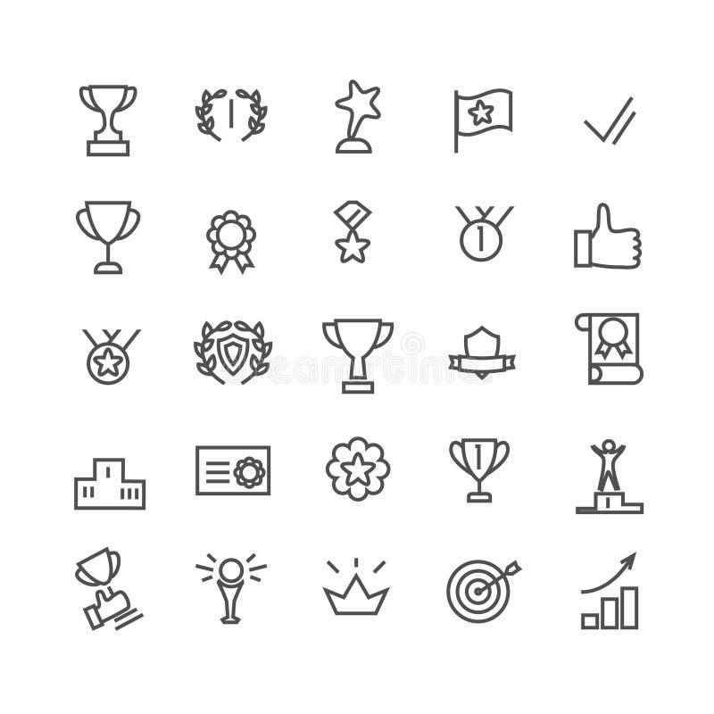 Sistema del icono del premio Línea arte Incluye los iconos tales como la taza del trofeo, meta, éxito, pulgares para arriba Pixel libre illustration