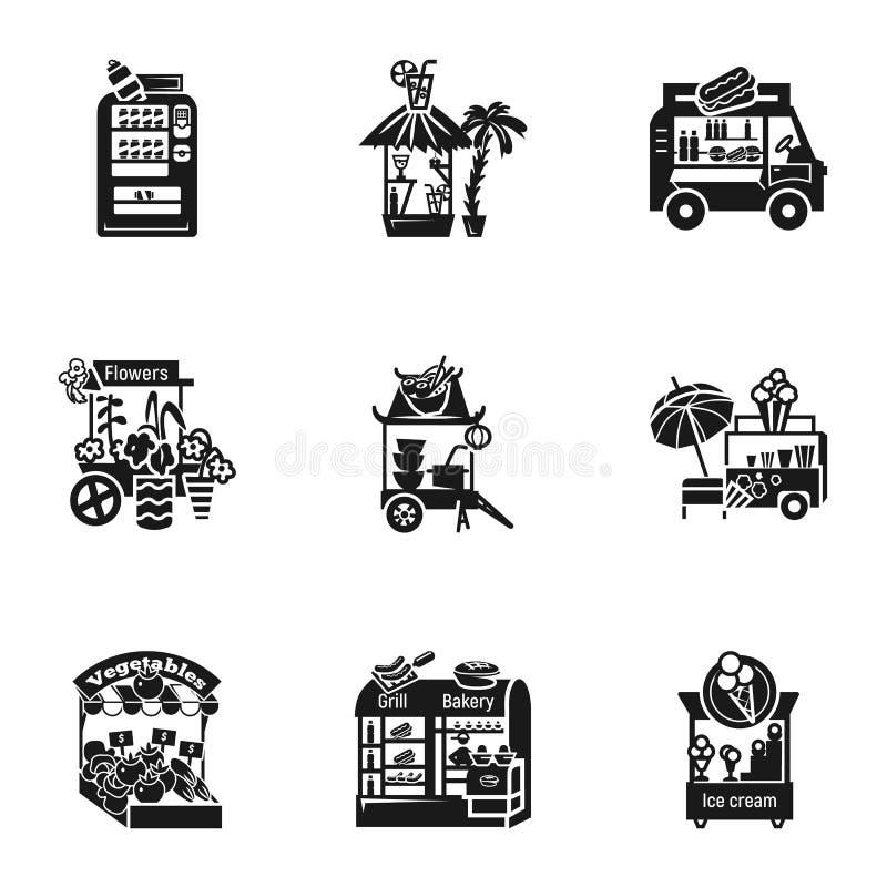 Sistema del icono del quiosco de la comida de la calle, estilo simple libre illustration