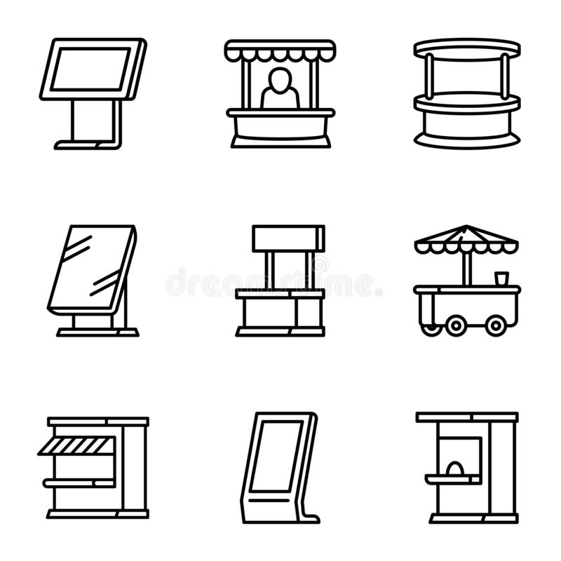 Sistema del icono del quiosco de la tienda de la calle, estilo del esquema ilustración del vector