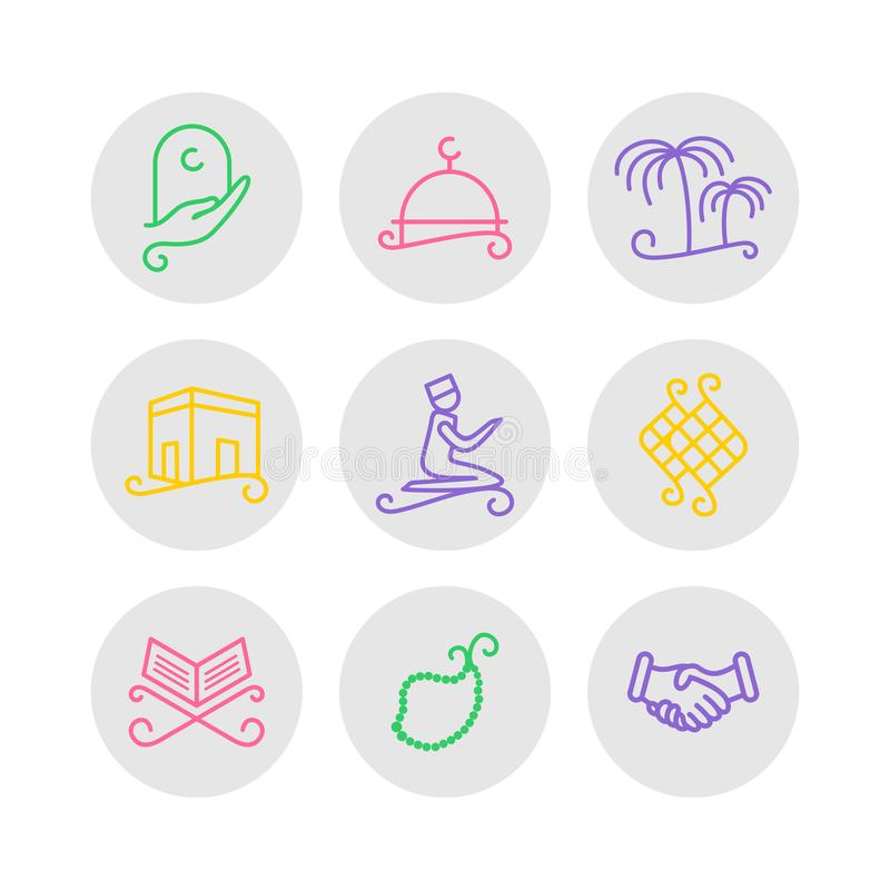 Sistema del icono del Ramadán libre illustration