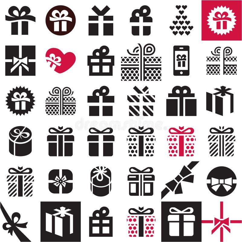 Sistema del icono del regalo Rectángulo de regalo ilustración del vector