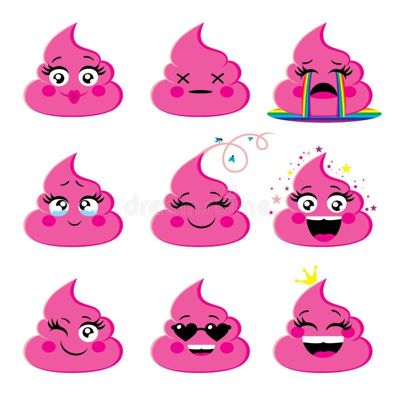 Sistema del icono rosado y atractivo del emoji con diversa expresión de la cara ilustración del vector