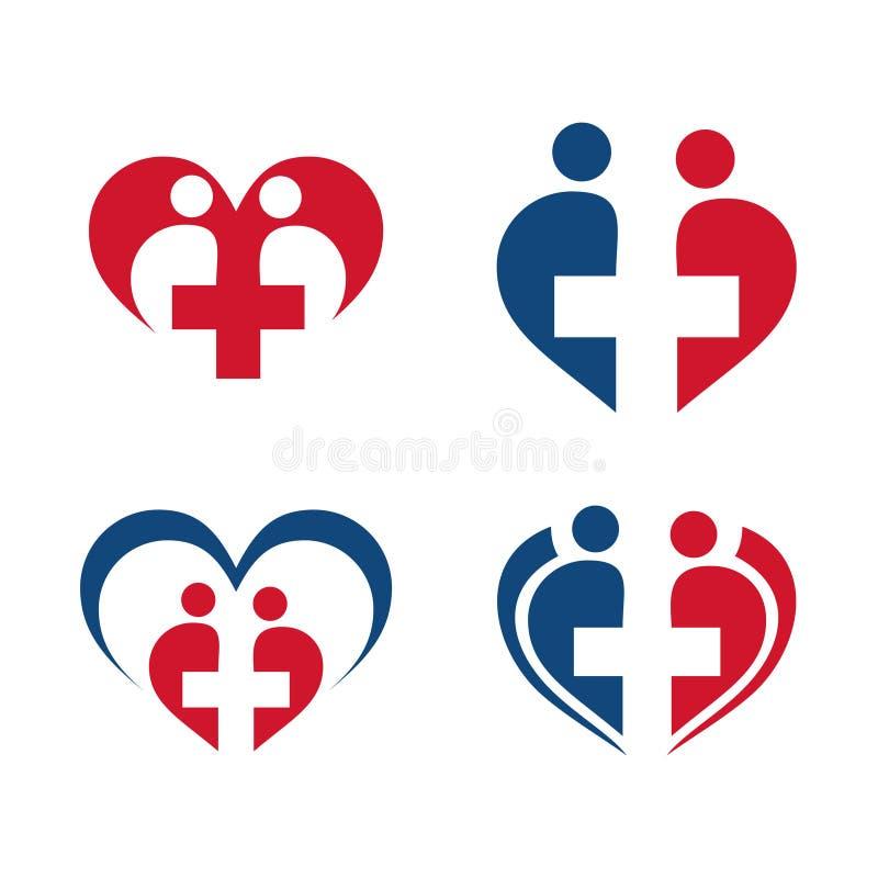 Sistema del icono del símbolo de la atención sanitaria del amor del corazón del alcohol stock de ilustración