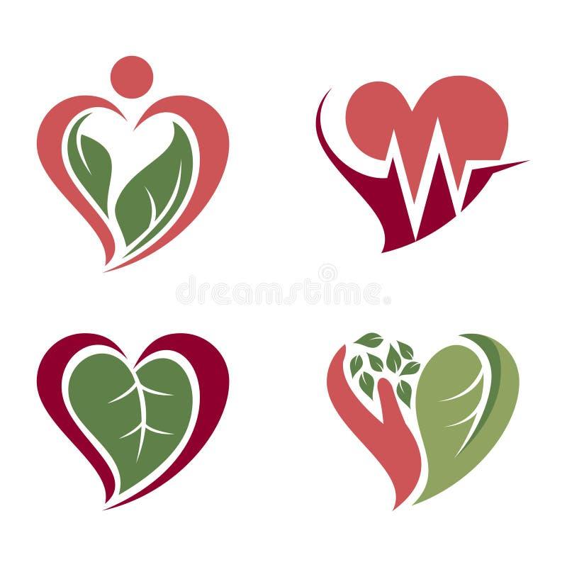 Sistema del icono del símbolo de la atención sanitaria del amor del corazón de la naturaleza libre illustration