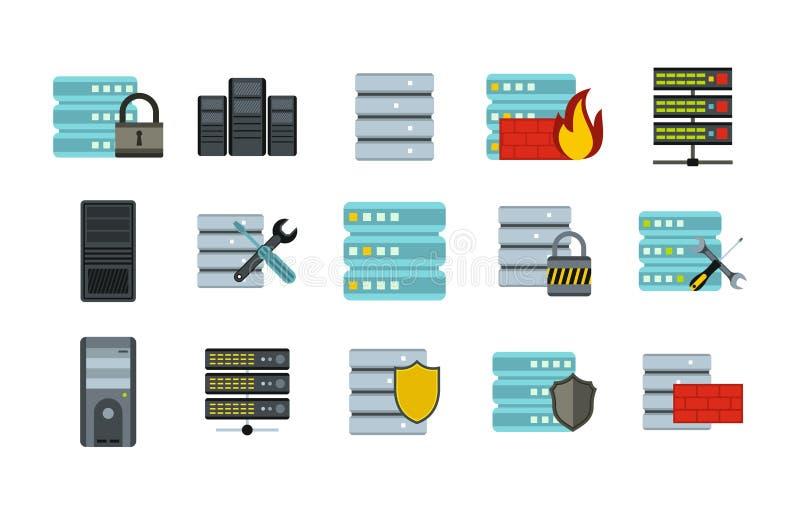 Sistema del icono del servidor, estilo plano ilustración del vector