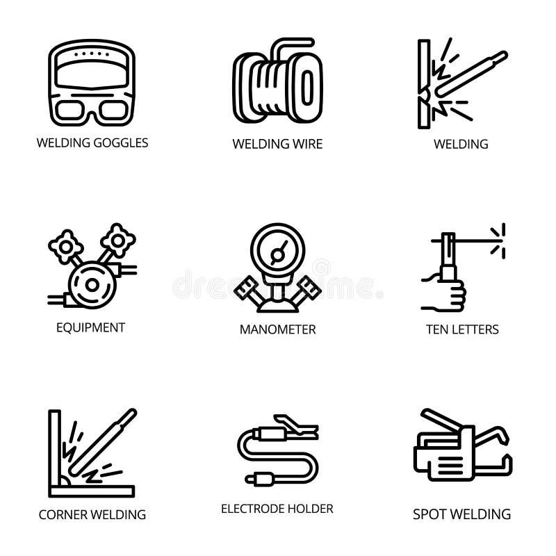 Sistema del icono del soldador, estilo del esquema ilustración del vector