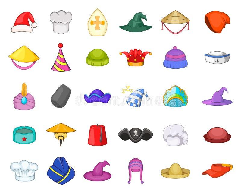 Sistema del icono del sombrero, estilo de la historieta libre illustration