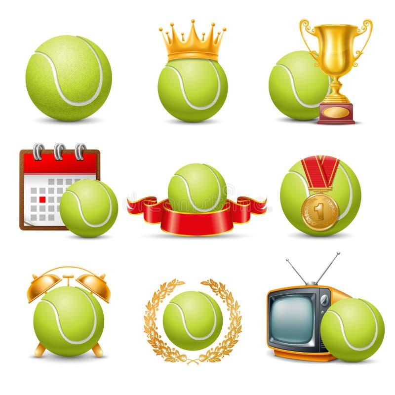Sistema del icono del tenis stock de ilustración