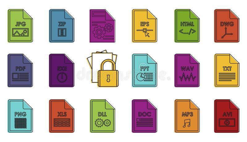 Sistema del icono del tipo de archivo, estilo del esquema del color stock de ilustración