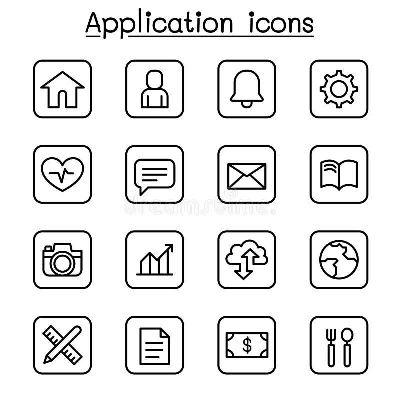 Sistema del icono del uso en la línea estilo fina ilustración del vector