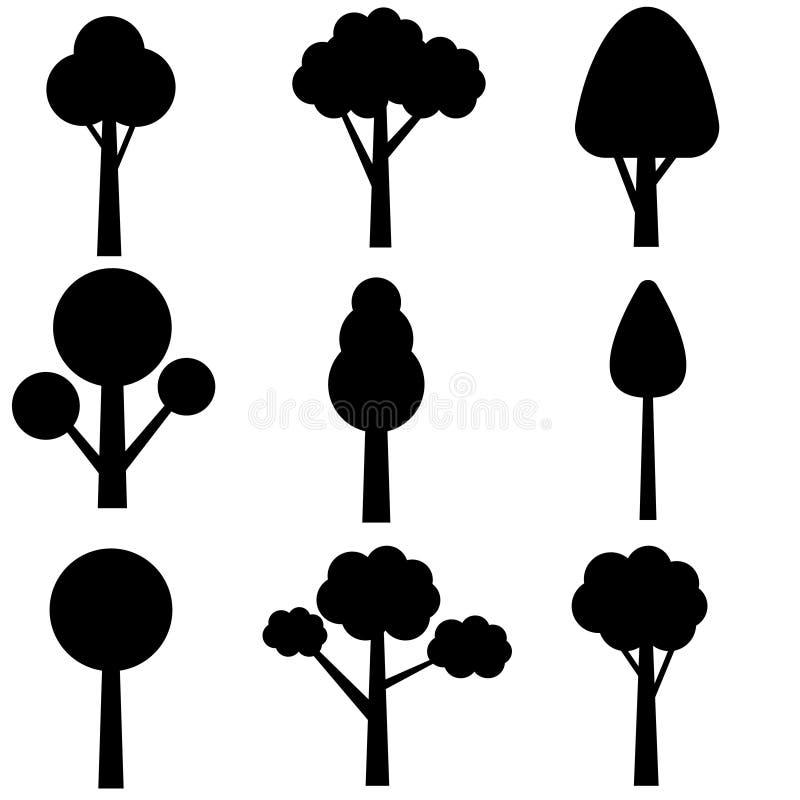 Sistema del icono del vector del ?rbol Colecci?n de los ?rboles Iconos de las plantas verdes, ejemplos de los ?rboles forestales stock de ilustración