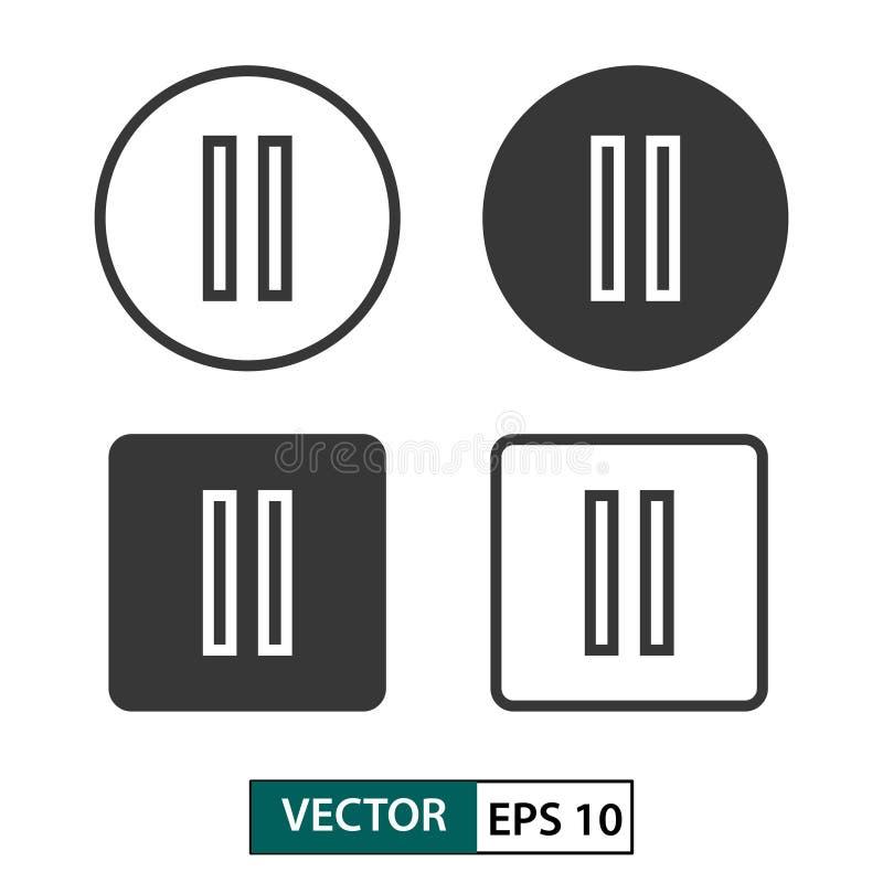 Sistema del icono del vector del botón de pausa Aislado en blanco Ilustraci?n EPS 10 del vector stock de ilustración