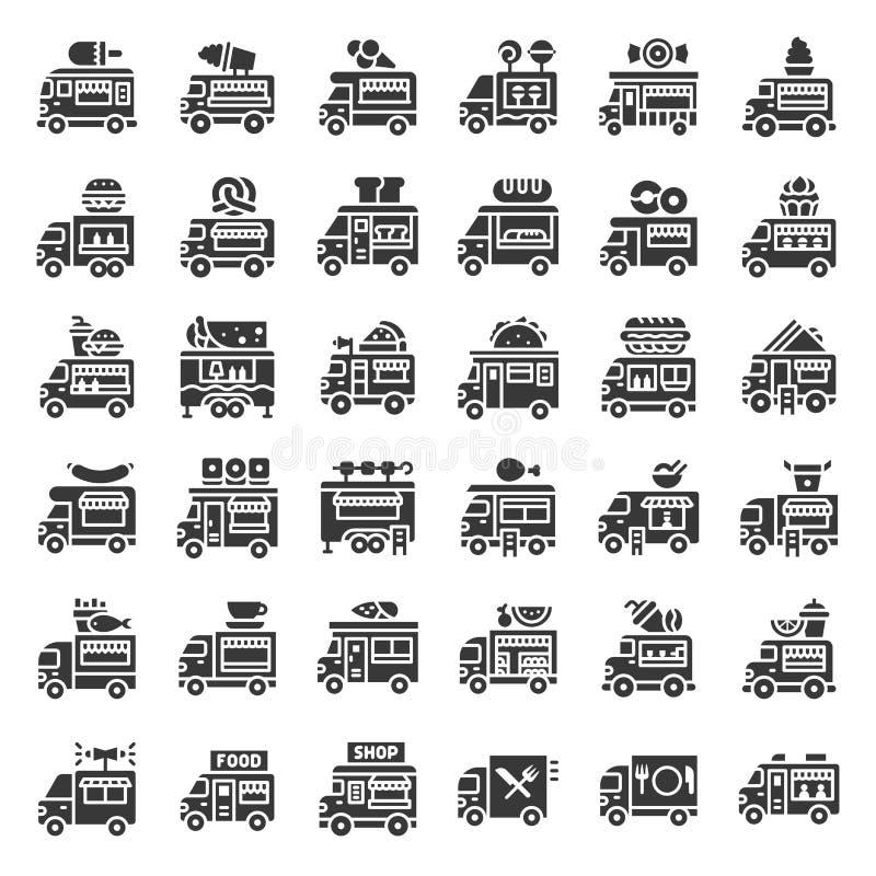 Sistema del icono del vector del camión de la comida, estilo sólido ilustración del vector