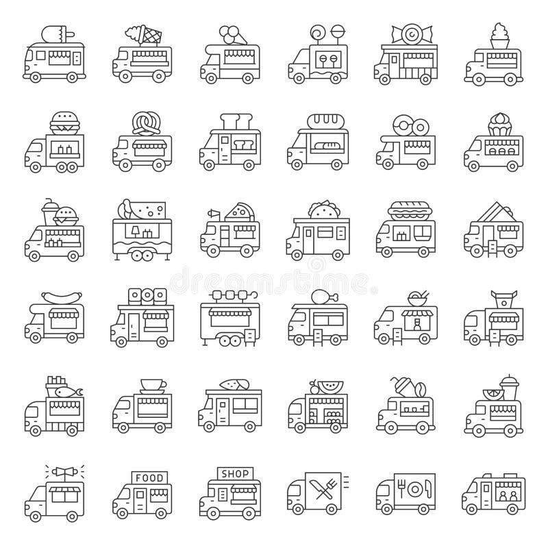 Sistema del icono del vector del camión de la comida, línea movimiento editable del estilo libre illustration
