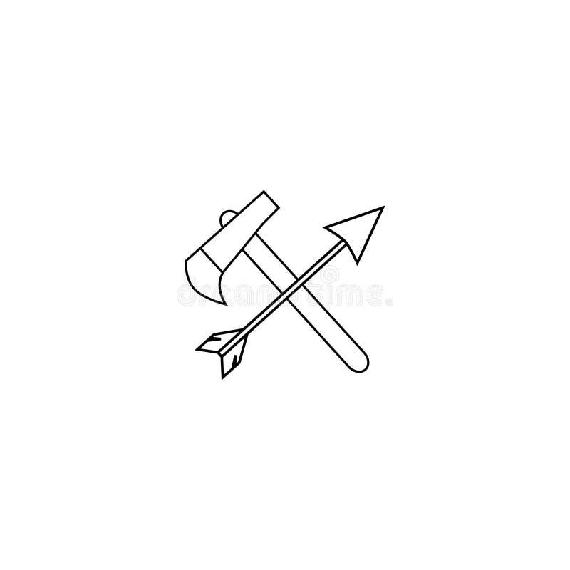 Sistema del icono del vector del coche Las armas nacionales de los indios Hacha y flecha cruzadas libre illustration