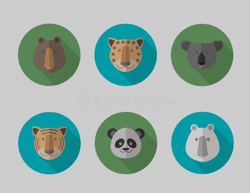 Sistema del icono del vector de estilo plano de los animales stock de ilustración