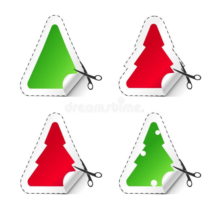 Sistema del icono del vector de etiquetas engomadas rojas y verdes del árbol de navidad Stikers de la venta del Año Nuevo ilustración del vector