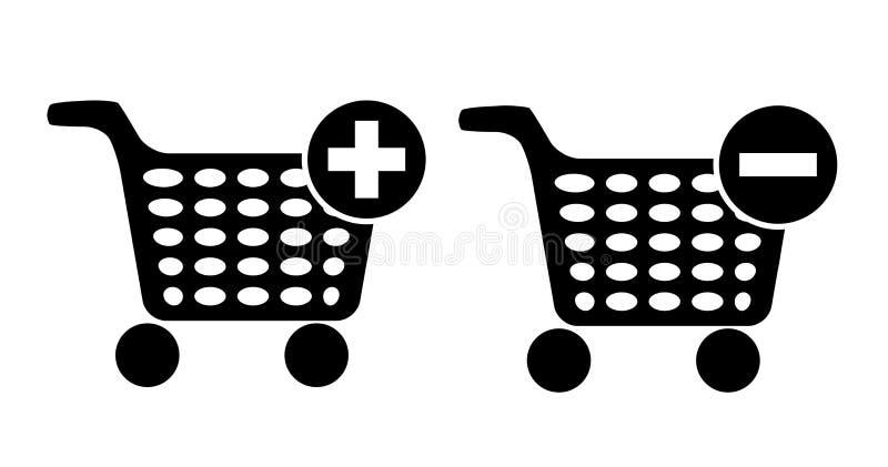 Sistema del icono del vector de la carta de las compras stock de ilustración