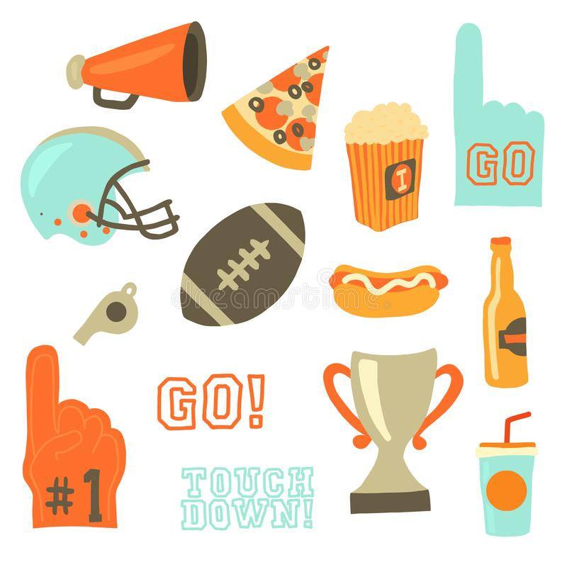 Sistema del icono del vector del partido del cuenco estupendo Iconos de la celebración de los juegos del deporte Estilo retro del stock de ilustración