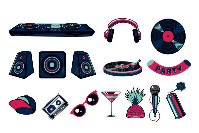 Sistema del icono del vector del partido de la música Colección de las muestras del club nocturno de la danza stock de ilustración