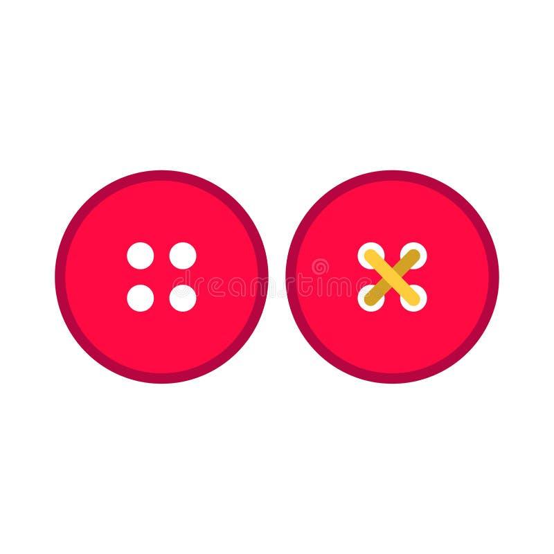 Sistema del icono del vector del pictograma de la tela del símbolo de la ropa del botón rojo del vestido Sastre de costura del ac ilustración del vector