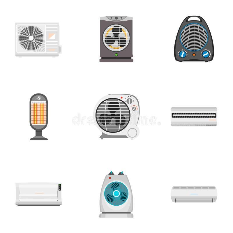 Sistema del icono del ventilador, estilo plano libre illustration