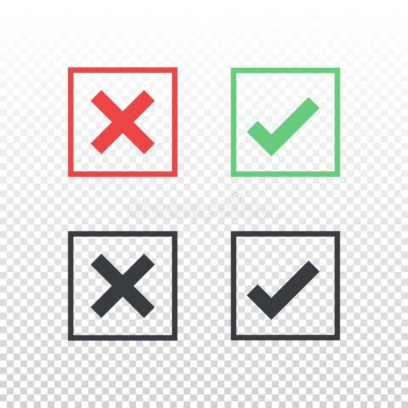 Sistema del icono verde rojo de la marca de verificación del icono de la casilla negra en fondo transparente Apruebe y cancele el stock de ilustración