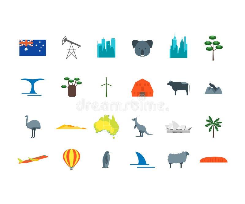 Sistema del icono del viaje de Australia del color de la historieta Vector ilustración del vector