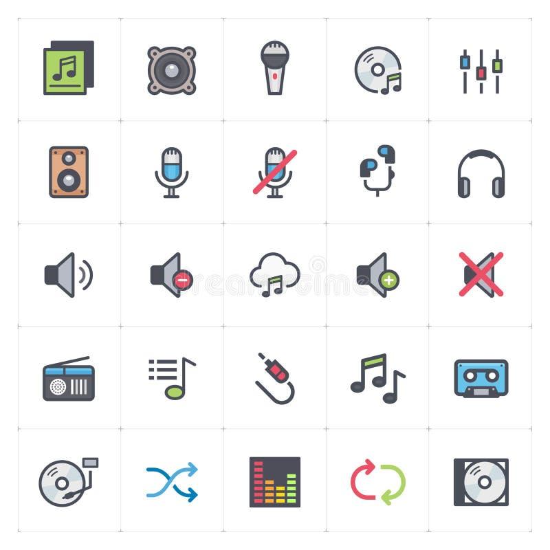 Sistema del icono - voz y movimiento a todo color audio del esquema stock de ilustración