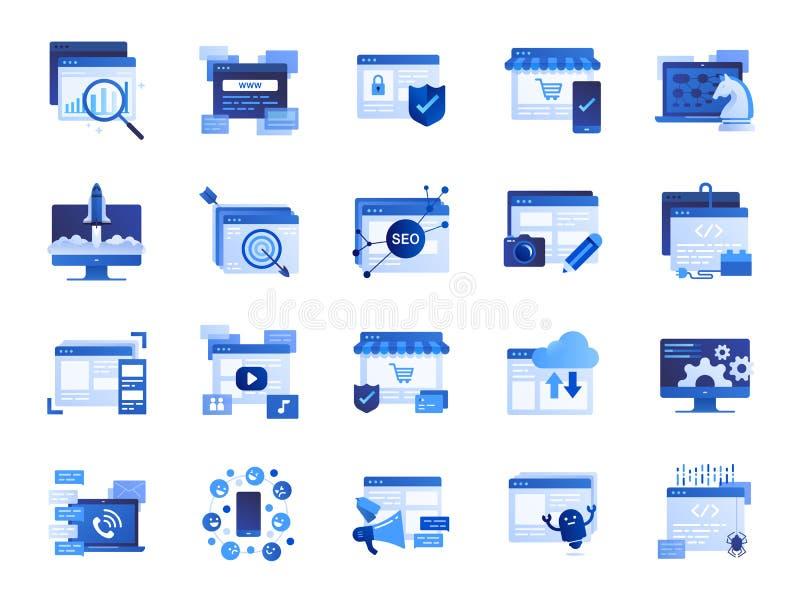 Sistema del icono del web y del márketing Iconos incluidos como SEO, estadísticas, contenido, en línea y más ilustración del vector