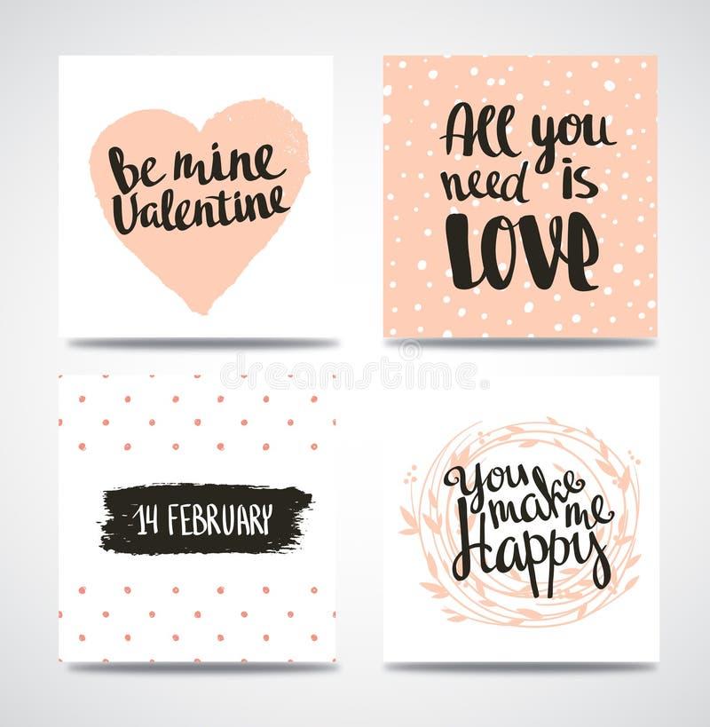 Sistema del inconformista de moda Valentine Cards Fondos dibujados mano del vector Sistema de títulos caligráficos ilustración del vector