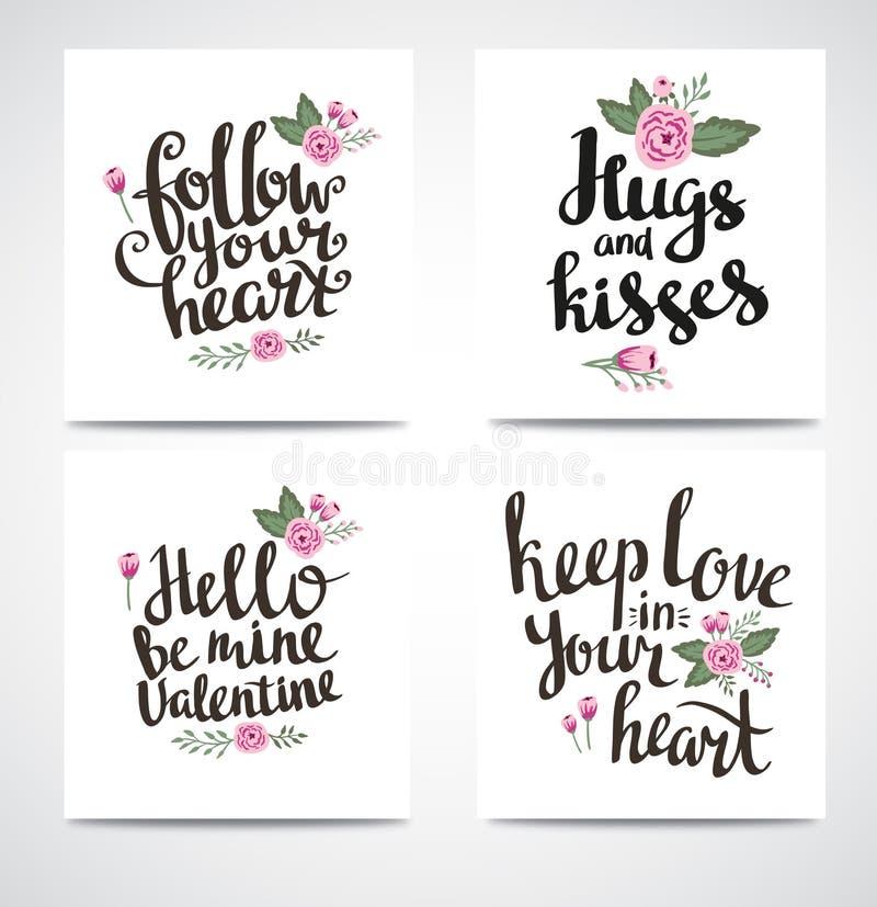 Sistema del inconformista de moda Valentine Cards Fondos dibujados mano del vector Sistema del calligraphics de la tarjeta del dí ilustración del vector