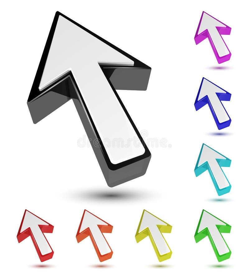 Sistema del indicador multicolor del cursor de la flecha 3d libre illustration