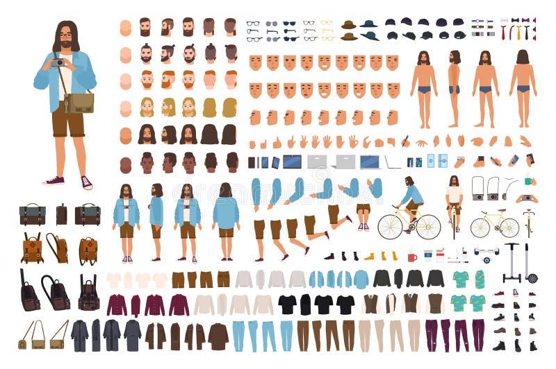 Sistema del individuo DIY del inconformista o equipo de la animación Hombre vestido en ropa de moda Colección de cuerpo plano mas libre illustration
