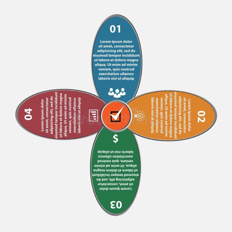 Sistema del infographics del círculo del flover del vector Plantilla para el diagrama, el gráfico, la presentación y la carta Neg ilustración del vector
