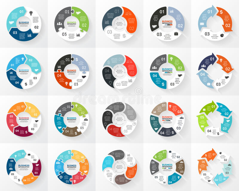 Sistema del infographics de las flechas del círculo del vector 3, 4, 5, 6 opciones, piezas, pasos Plantilla para el diagrama del  libre illustration