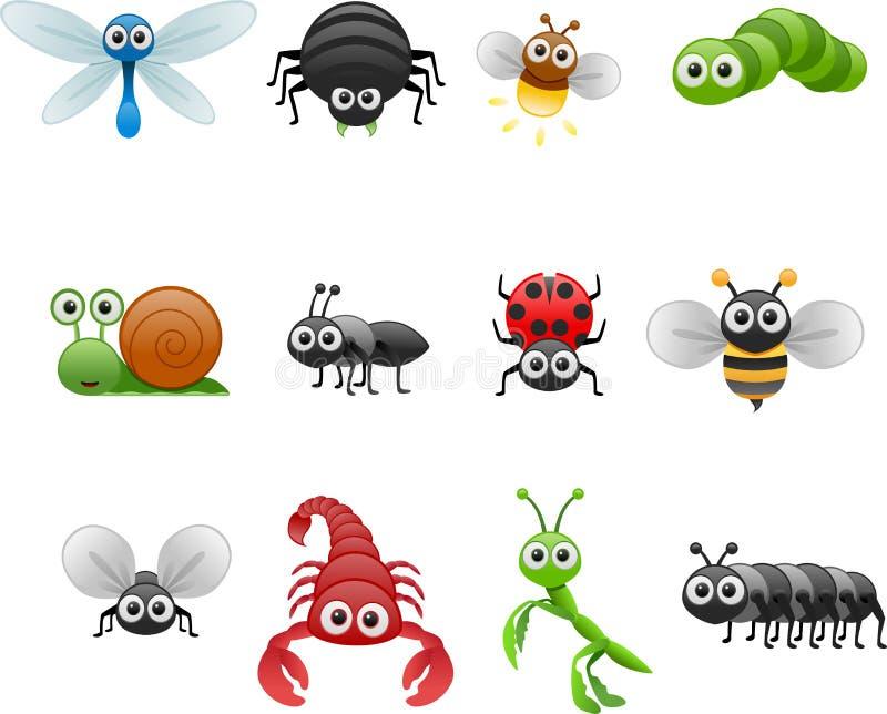 Sistema del insecto de la historieta stock de ilustración