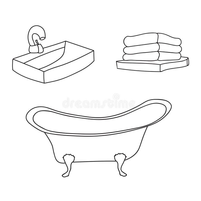 Sistema del interior del cuarto de baño El tubo del baño del vintage, fregadero con un golpecito de agua, dobló las toallas de ba stock de ilustración