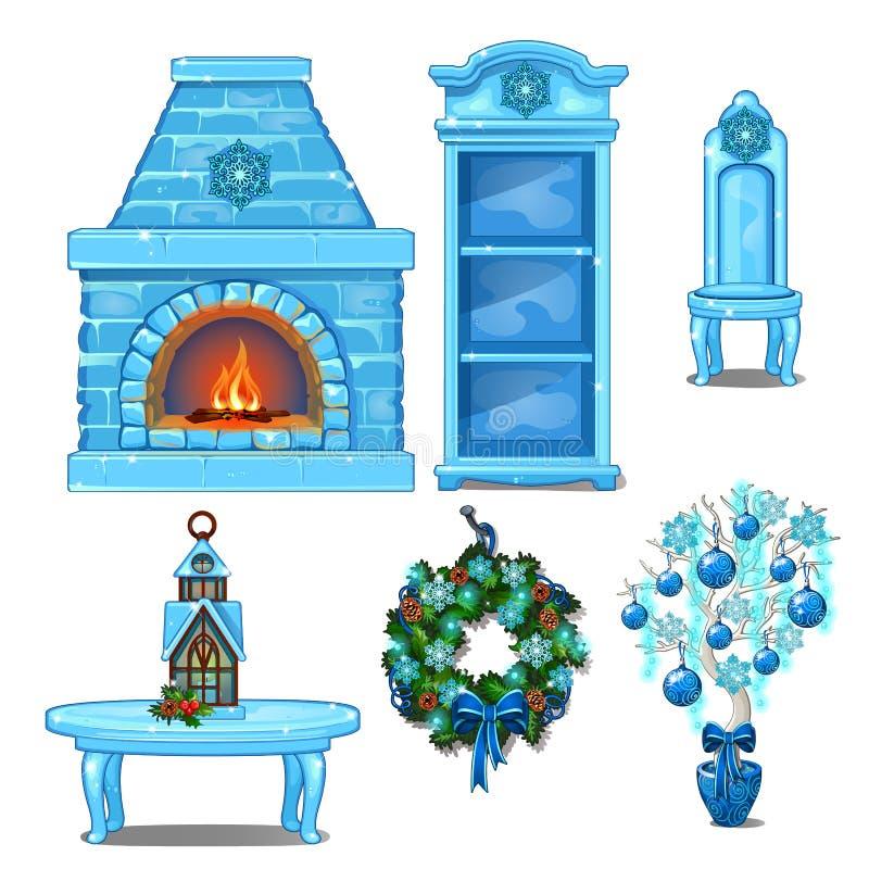 Sistema del interior de los muebles y de los accesorios hecho del hielo Chimenea, estante para libros, silla, tabla, guirnalda Bo stock de ilustración