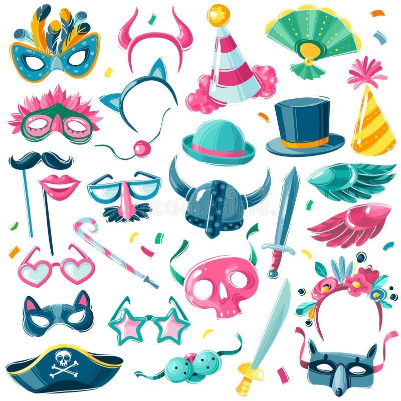 Sistema del inventario del partido del carnaval Sistema grande de artículos aislados del carnaval en el fondo blanco en estilo il libre illustration