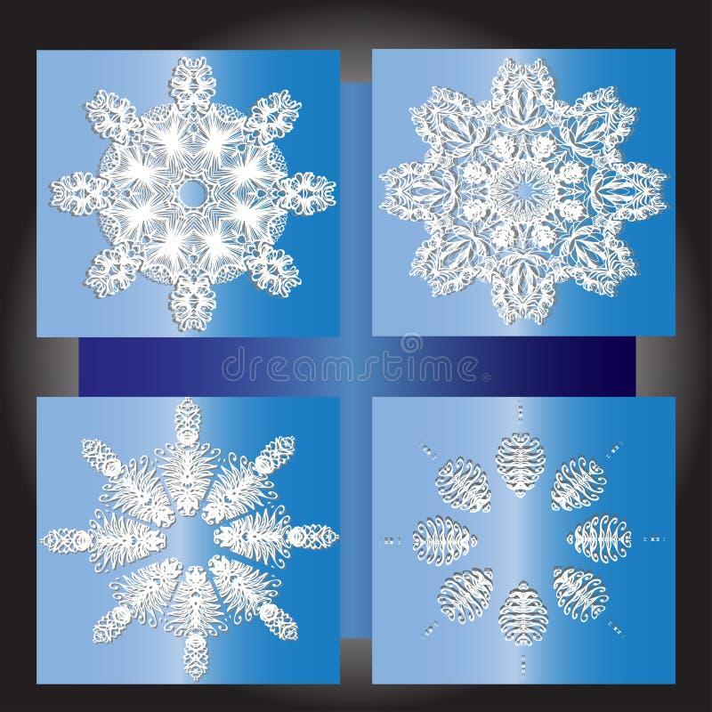 Sistema del invierno de los copos de nieve, diseño ilustración del vector