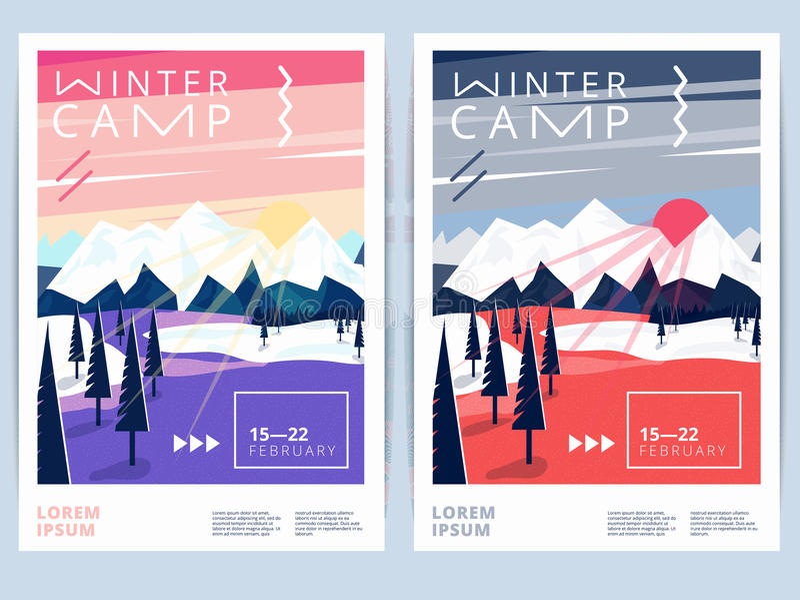 Sistema del invierno que camina el cartel o el aviador del campo ilustración del vector