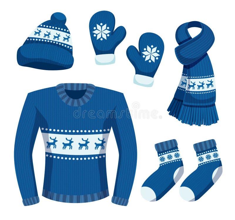 Sistema del invierno del tiempo del suéter stock de ilustración