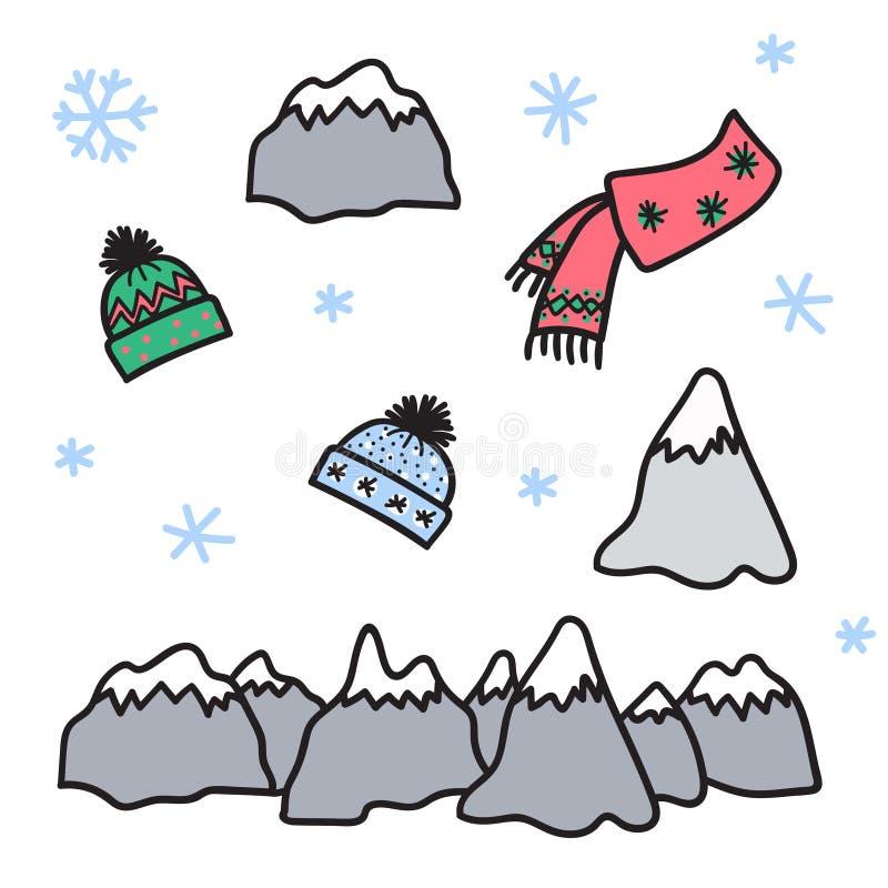 Sistema del invierno del vector de la montaña, sombrero, bufanda, nieve libre illustration