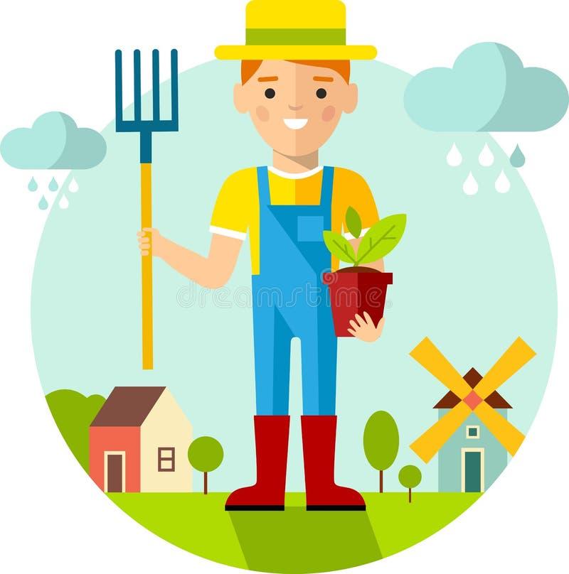 Sistema del jardinero, del jardín, del molino, del granero y del paisaje de las imágenes con concepto que cultiva un huerto ilustración del vector
